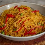 EASY Curried Singapore Rice Noodles – No Oil Low Fat Recipe!